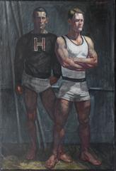Harvard Athletes (Contemporary Oil Portrait of Two Male Athletes)