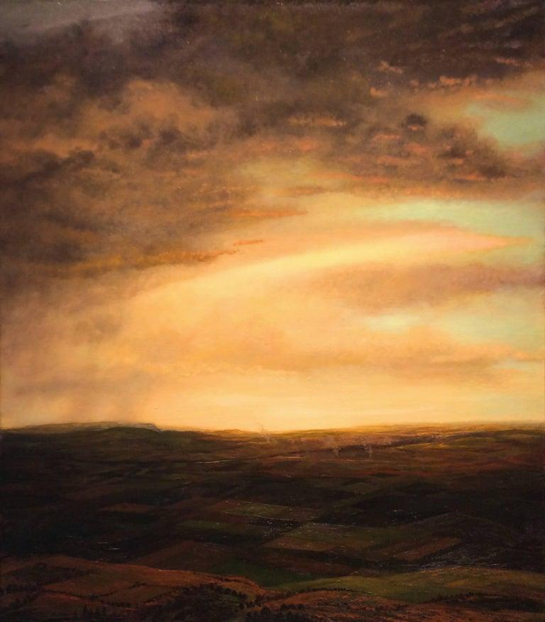 Streak (Modern Hudson River School Style Landscape Painting of Sunset)