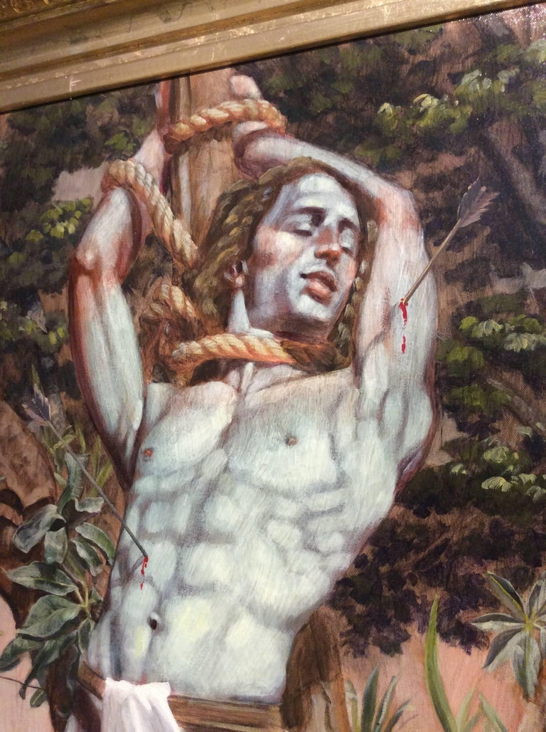 Academic style figurative oil painting on canvas 48 x 24 inches unframed 58 x 32 x 3 inches in gold leaf wood frame  This vertical, contemporary figurative painting of Le Martyr de Saint Sebastian was made by Mark Beard under his fictitious artistic