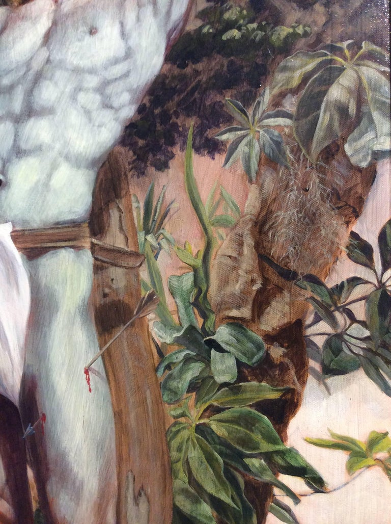 Le Martyr de Saint Sebastian (Academic Figurative Oil Painting in Gold Frame) For Sale 1