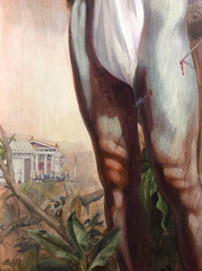 Le Martyr de Saint Sebastian (Academic Figurative Oil Painting in Gold Frame) For Sale 2