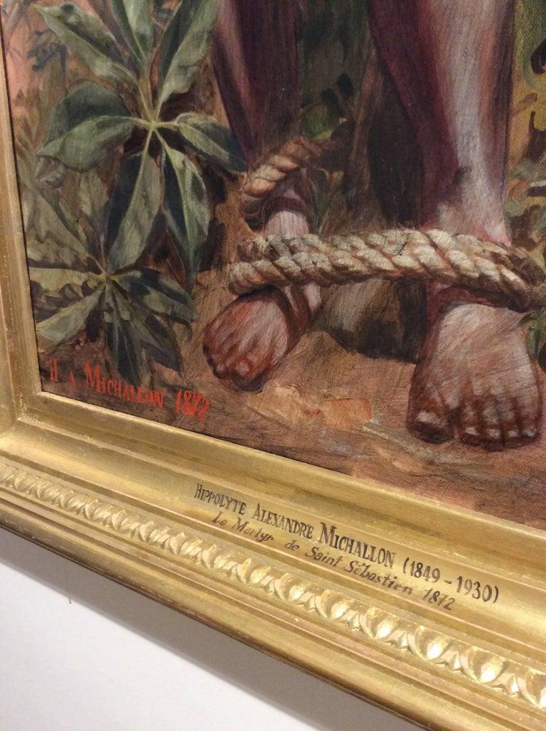 Le Martyr de Saint Sebastian (Academic Figurative Oil Painting in Gold Frame) For Sale 4