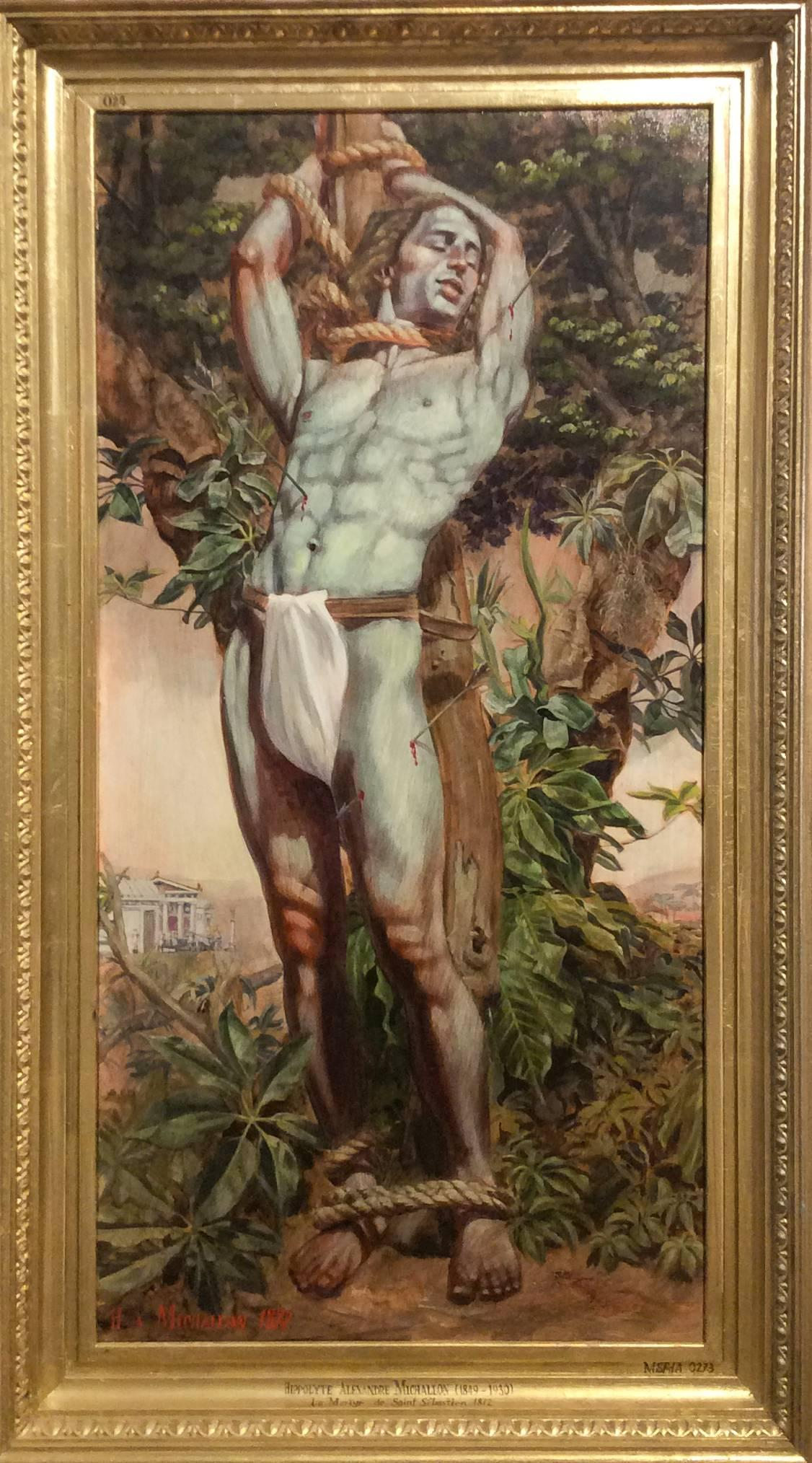 Le Martyr de Saint Sebastian (Academic Figurative Oil Painting in Gold Frame)