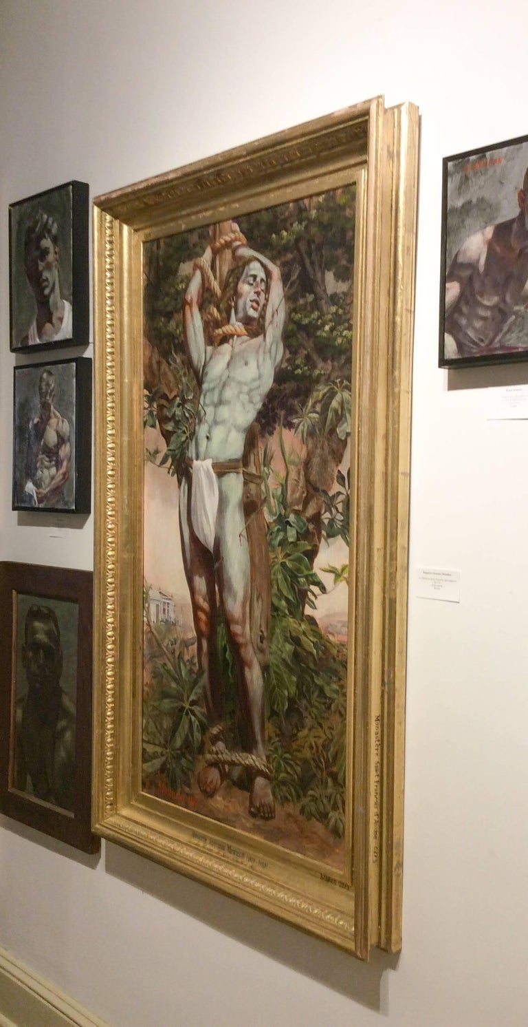 Le Martyr de Saint Sebastian (Academic Figurative Oil Painting in Gold Frame) - Brown Figurative Painting by Mark Beard