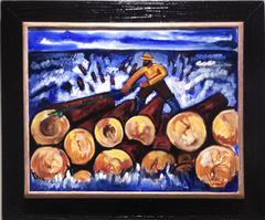 Rolling the Logs (Contemporary Oil Painting of Lumberjack in Vintage frame)