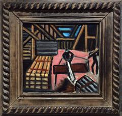 Man Sawing Wood (WPA style Painted Lumberyard Scene in Vintage Frame)