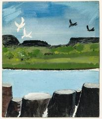 Coastal Landscape with Birds and Rocks or Pylons