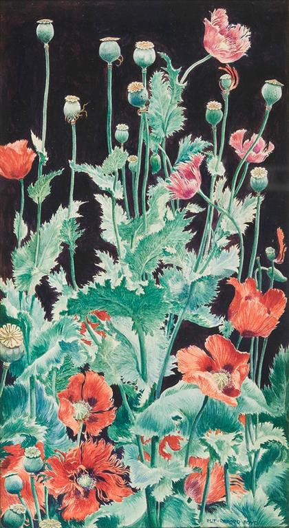 John Rutherford Boyd Still-Life Painting - Shirley Poppies