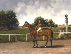 A Bay Racehorse with Jockey up by a Starting Pole on a Racetrack