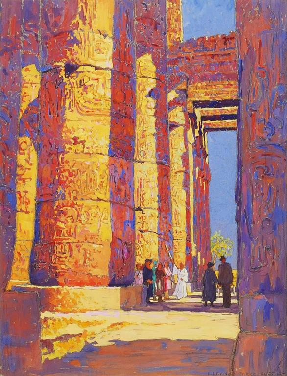 Eleanor Parke Custis Figurative Art - Tourists Viewing the Temple of Karnak, Egypt