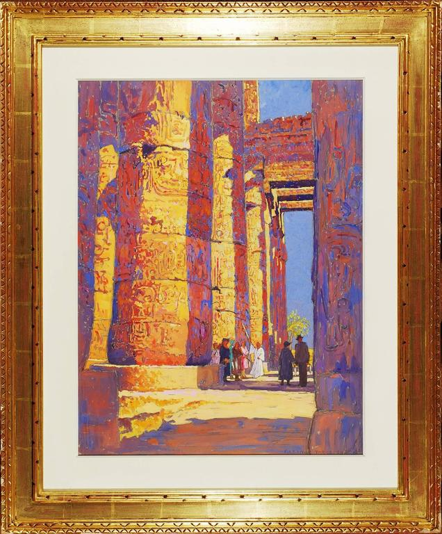 Tourists Viewing the Temple of Karnak, Egypt - American Realist Art by Eleanor Parke Custis