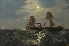 Broadside View of a Steamship in the Moonlight