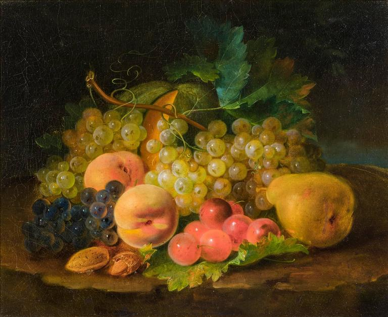 Still Life: Grapes, Peaches, Pear and Nuts