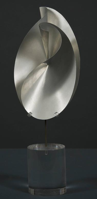 Twisted and Creased Ellipses in Two Stages - Sculpture by John Rutherford Boyd