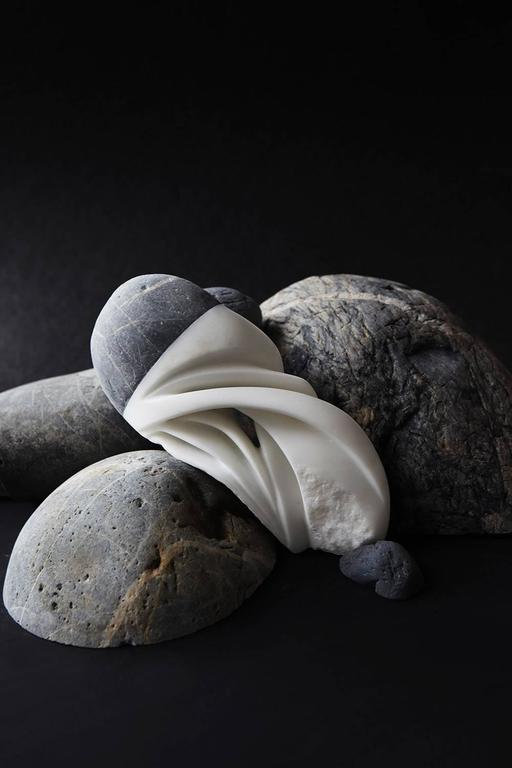 Elizabeth Turk Abstract Sculpture - Marble and Baja Beach Stone Four