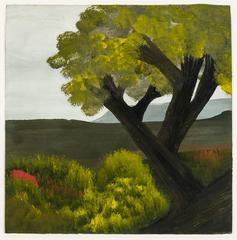 Landscape with Large Tree and Red Highlights