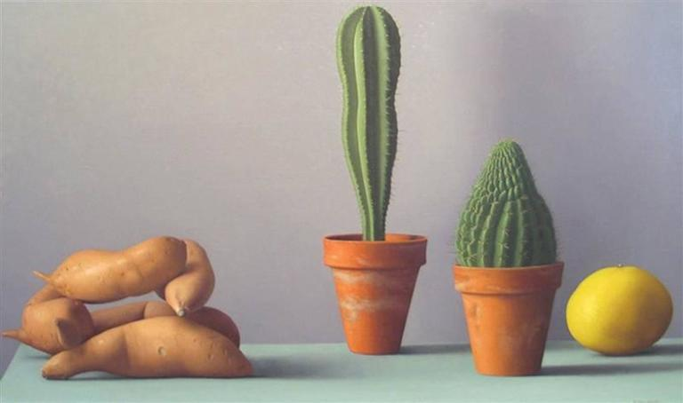 Amy Weiskopf Still-Life Painting - Still Life with Sweet Potatoes and Cacti