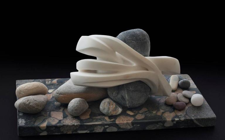 Elizabeth Turk Abstract Sculpture - Tensions: Beach Stone 15