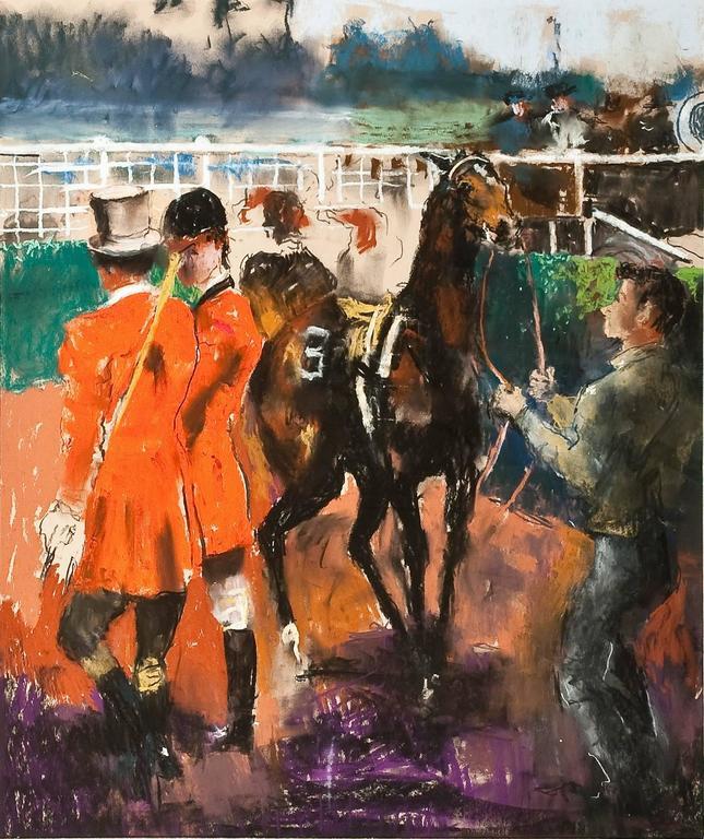 Randall Davey Animal Art - Untitled (Race Track Scene)