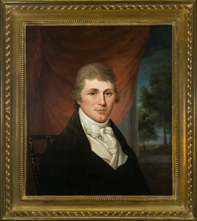 Captain John Ansley - Black Portrait Painting by James Peale