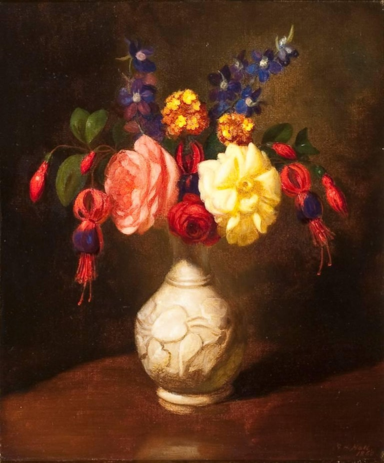 George Henry Hall Still Life Of Flowers In A White Vase Painting