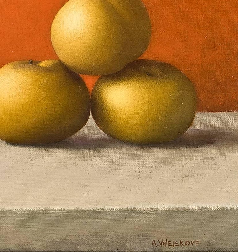 Magnolia Branch and Asian Pears - Orange Still-Life Painting by Amy Weiskopf