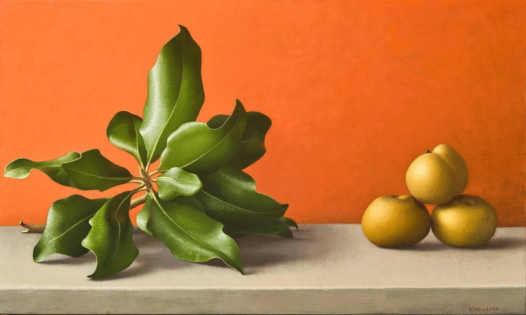 Amy Weiskopf Still-Life Painting - Magnolia Branch and Asian Pears