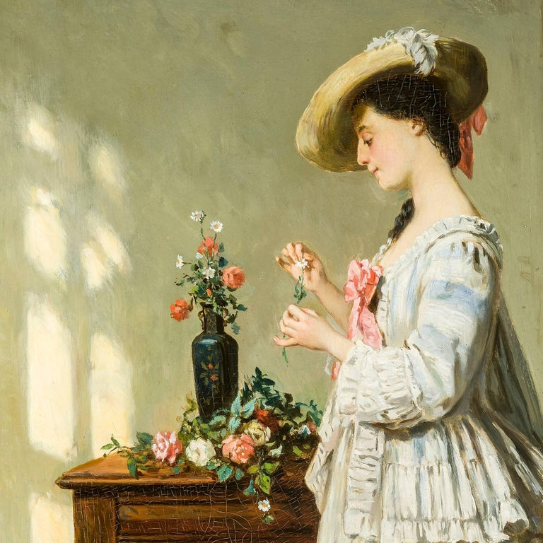 Arranging the Flowers - Impressionist Painting by Jean Carolus