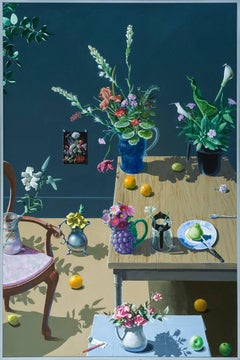 Dutch Still Life with Flowers in Pitchers, Two Tables and a Chair