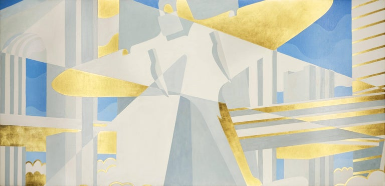 Winold Reiss Abstract Painting - City of the Future, Panel II