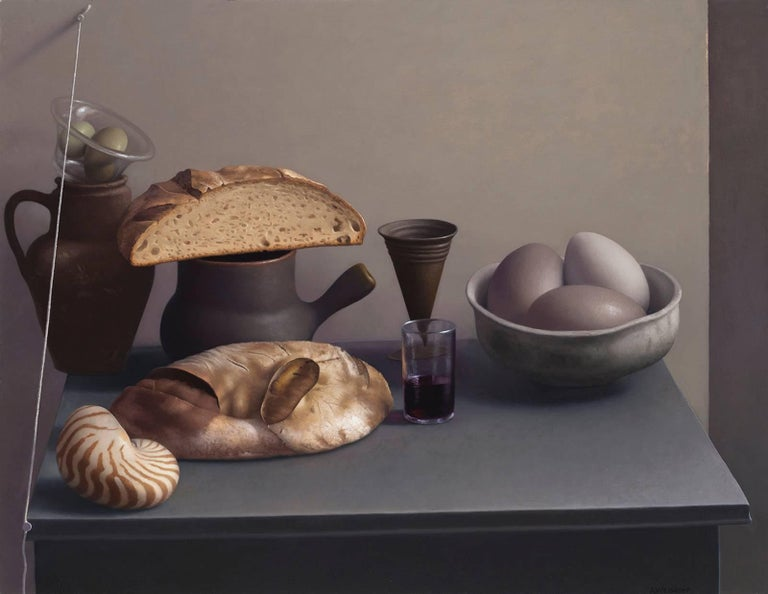 Amy Weiskopf Still-Life Painting - Still Life with Bread, Shell and Eggs
