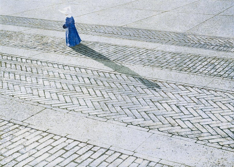 Nun Walking a Brick Road