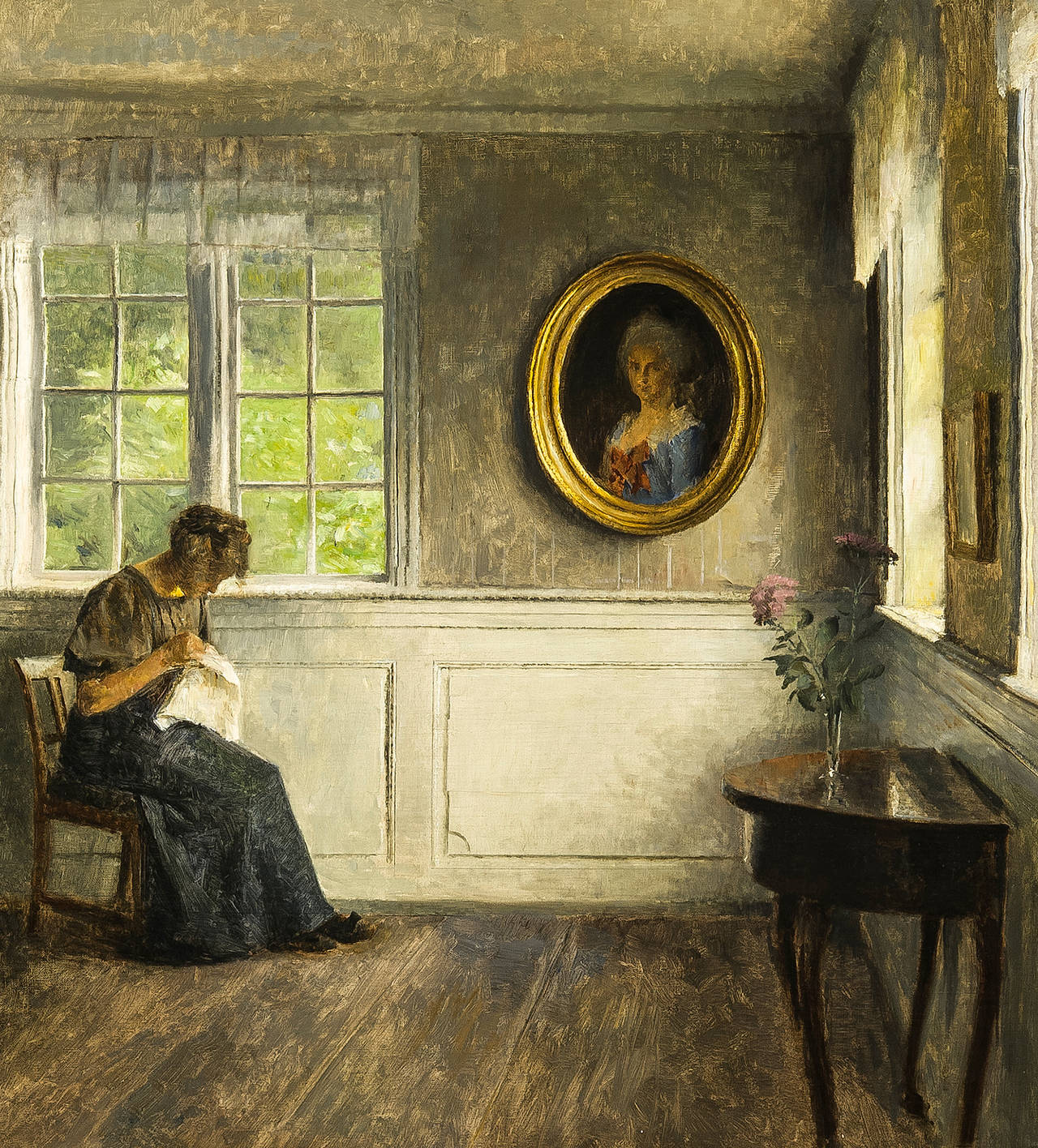 Peter Vilhelm Ilsted - Girl Sewing in an Interior, with a Portrait ...