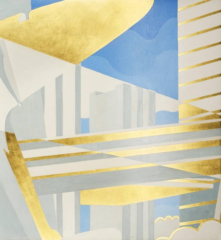 City of the Future, Panel II - Beige Abstract Painting by Winold Reiss