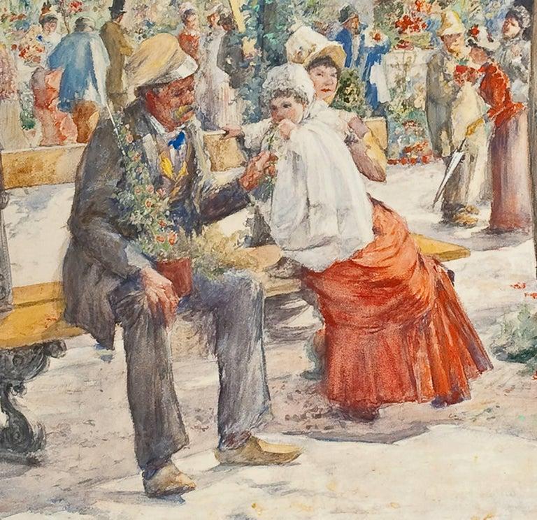 Le Marche aux Fleurs de Notre Dame - American Impressionist Painting by August Franzen