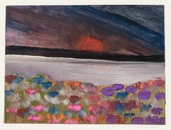 Dark Sky with Blooming Flowers
