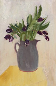 Tulips in a Gray Vase (Vertical)