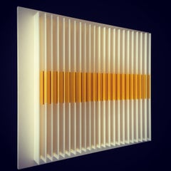 Gold Rise comb - kinetic wall sculpture by J. Margulis