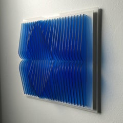 Trans Blue Pond - kinetic wall sculpture by J. Margulis