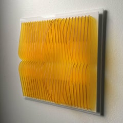 Trans Yellow Pond - kinetic wall sculpture by J. Margulis