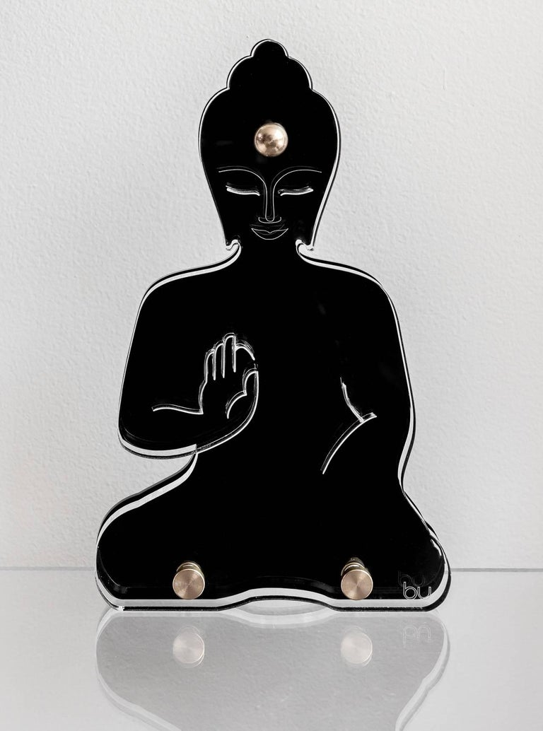 Contemporary Lucite Buddha statue, Black