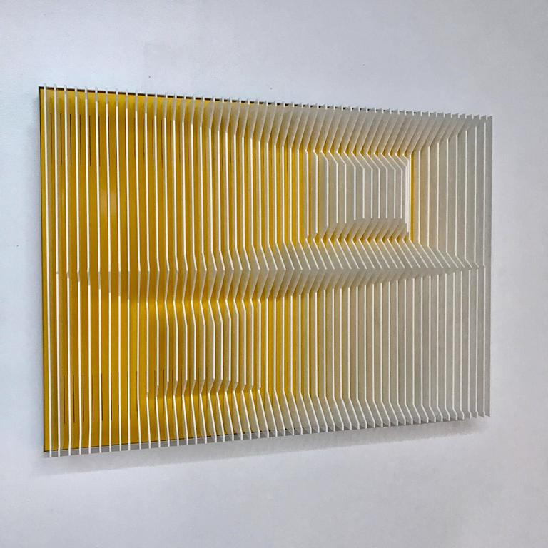 Jose Margulis Abstract Sculpture - Yellow cross perpectives
