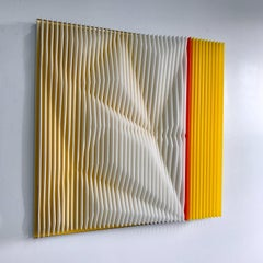 Orange link - kinetic wall sculpture by J. Margulis
