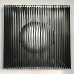 Moon phase 24 black - kinetic wall sculpture by J. Margulis
