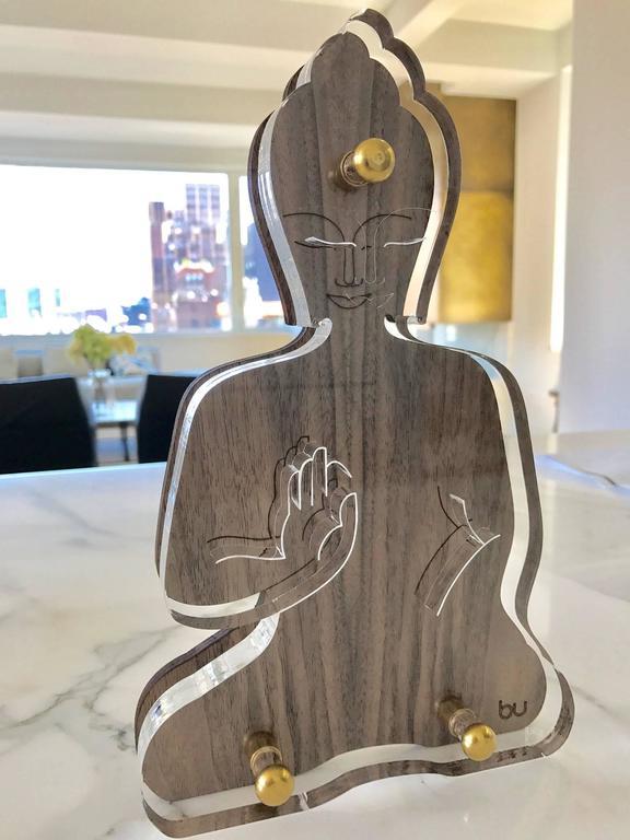 Unknown Figurative Sculpture - Contemporary Buddha wooden acrylic sculpture