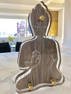 Contemporary Buddha wooden acrylic sculpture