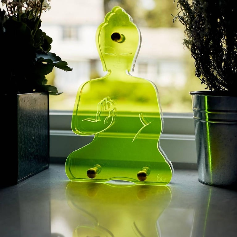 Unknown Figurative Sculpture - Contemporary Buddha statue - Green Neon Plexiglass