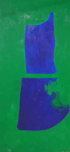 Figure Blue on Green