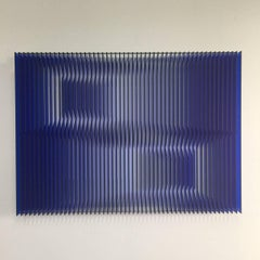 Cross perspectives Blue - kinetic wall sculpture by J. Margulis