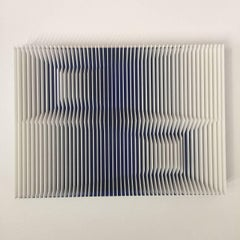 Cross perspectives Transblue - kinetic wall sculpture by J. Margulis